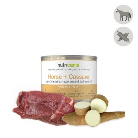 Vådfoder til hund voksen: 200g Hest + kassava