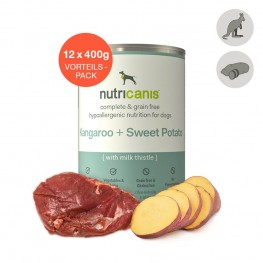 Hvalpefoder til hunde: 12 x 400g Kænguru + Sød Kartoffel