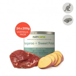 Hvalpefoder til hunde: 24 x 200g Kænguru + Sød Kartoffel