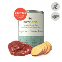 Hvalpefoder til hunde: 24 x 400g Kænguru + Sød Kartoffel