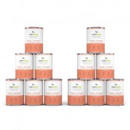 Vådfoder til hunde: 12 x 400g Kalkun + Græskar med marietidsel