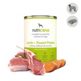 Vådfoder til hund voksen: 400g Lam + søde kartofler med marietidsel