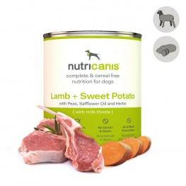 Vådfoder til hund voksen: 800g Lam + søde kartofler med marietidsel