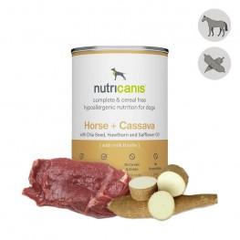 Vådfoder til hund voksen: 400g Hest + kassava