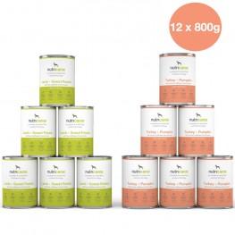 Vådfoder til hund voksen: 6 x 400g Lam + søde kartofler & 6 x 400g Kalkun + Græskar med marietidsel